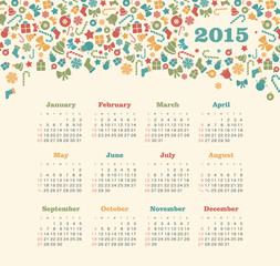 Calendar 2015 year with Christmas pattern