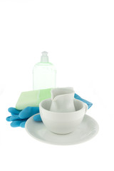Kitchen utensil with coffee cup,blue gloves and green spong for