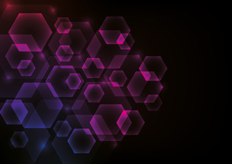 Glowing Abstract Background with Hexagons