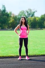 woman sport on stadium outdoors training