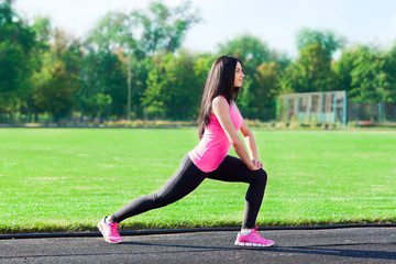 woman sport on stadium summer outdoors training