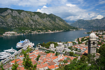 View on old town Kotor and Bay of Kotor, Montenegro
