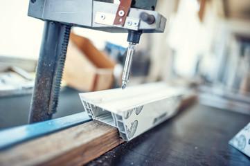 industrial metal drilling tool in factory. Metal industrial