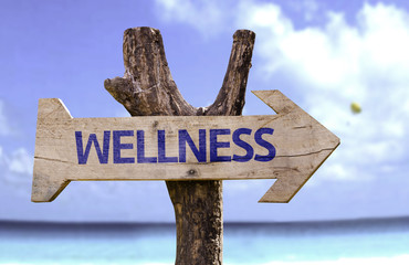 Wellness wooden sign on a beautiful day