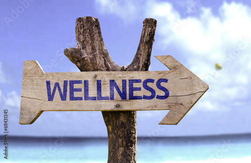 canvas print picture Wellness wooden sign on a beautiful day