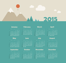 Calendar 2015 year with mountain landscape