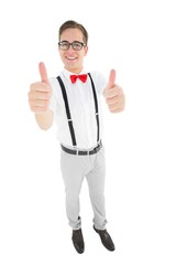 Geeky young hipster showing thumbs up