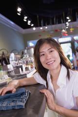 Asian woman clothing shopping