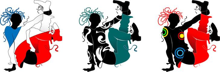Break-dance, silhouette of a man in bright clothes