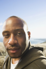 Close up of African American man outdoors