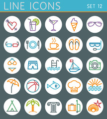 Travel line icons set. Summer holidays vector web design