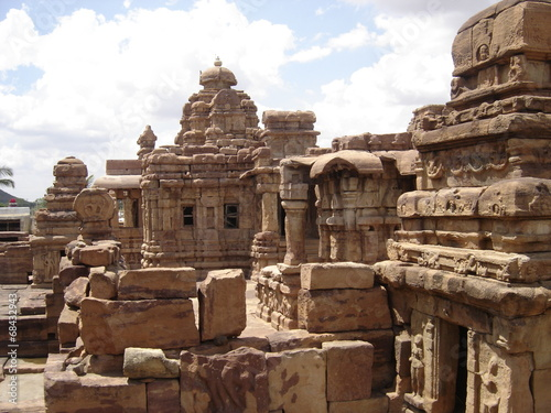 group of stone carved temples at UNESCO site of Pattadkal