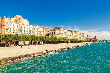 quayside of an old town of Siracusa