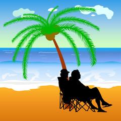 couple sitting under palm on the beach illustration