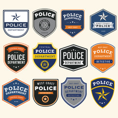 Police department badges and design elements
