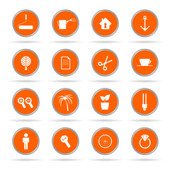 set of icon in orange circle vector illustration