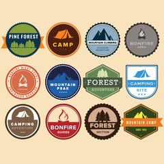 Set of vintage outdoor camp badges.