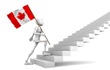 Guy freely walking to the top and carries the Canadian flag