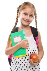 Happy little girl starts school, portrait, isolated