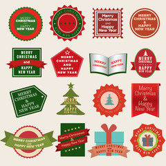 Set of labels and elements for Christmas Badges.