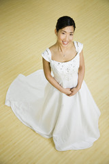 High angle view of Asian bride