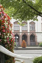 Blumen-Elefant vor Rathaus Hamm, NRW, Deutschland