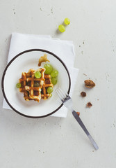 Waffle with grapes
