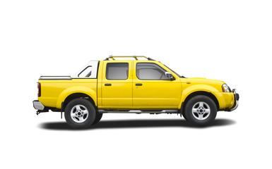 Yellow pick-up truck