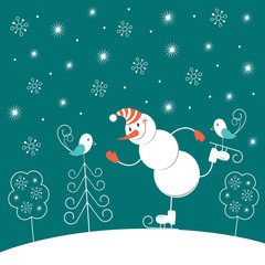 Christmas skating snowman