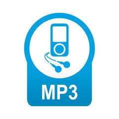 Etiqueta tipo app azul redonda MP3