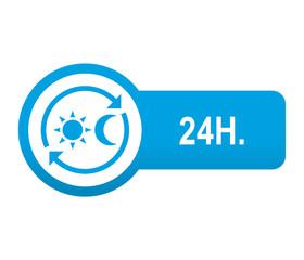 Etiqueta redonda azul alargada 24H.