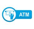Etiqueta tipo app azul alargada ATM
