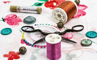 sewing set of threads,needles,buttons and scissors