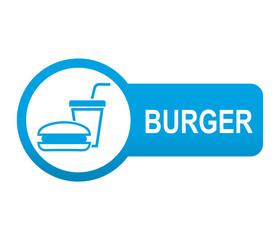 Etiqueta tipo app azul alargada BURGER