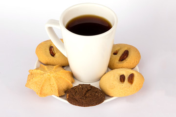 Hot drink coffee and cookies