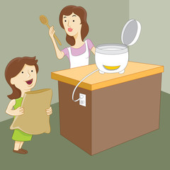 Mother and Daughter Making Rice
