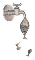 3d A Water Tap With Dollars Pouring Out