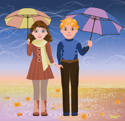 Cute little girl and boy with umbrella, vector