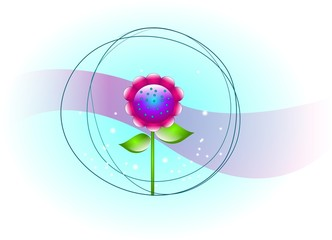 Bright colored flower with abstract background