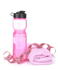 Sports bottle, towel and measuring tape isolated on white