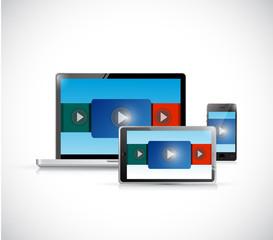 video presentation in electronics illustration