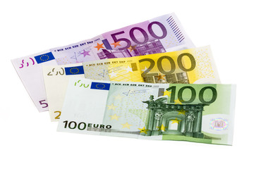 Isolated stack of money with three banknotes 100 200 500 euro