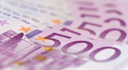 Close up stack of money. 500 euro banknotes. What is your dream