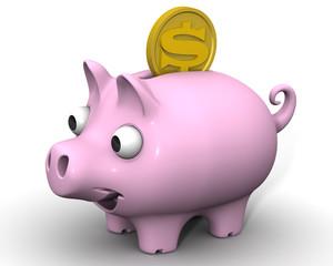 Свинка-копилка с монетой американского доллара