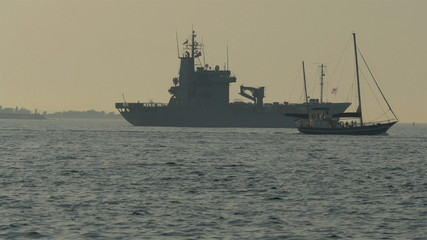 A big warship in the middle of the ocean GH4 4K UHD