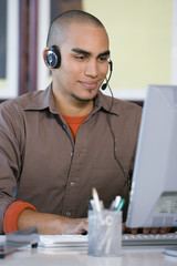 African American businessman wearing headset