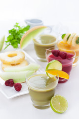 Variation of fruit and vegetable smoothies