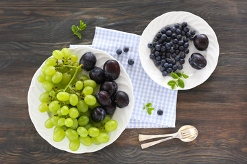 Grapes, plums and blueberries