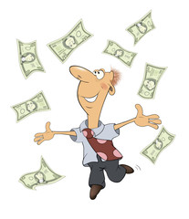 A business man with money cartoon