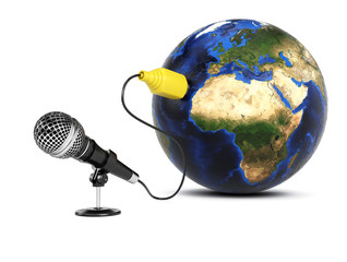 Microphone connected to the Earth